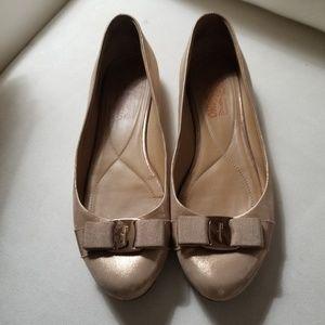 Salvatore Ferragamo rose gold ballerina size 9